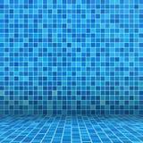 Blue ceramic tile. Mosaic in swimming pool Stock Photos