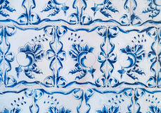 Blue ceramic tiles ornament pattern Royalty Free Stock Images