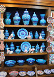 Blue ceramics for sale in the shop Istanbul Royalty Free Stock Image