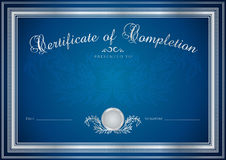 Blue Certificate / Diploma background (template). Dark blue Certificate, Diploma of completion (design template, sample background) with floral pattern ( stock illustration