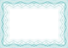 Blue Certificate or diploma template frame - border stock photography