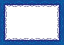 Blue Certificate or diploma template frame - border stock image