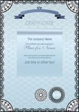 Blue certificate. Lace frame Royalty Free Stock Images