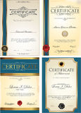 Blue Certificate template collection. Isolated on white background Royalty Free Stock Photos