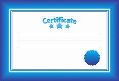 Blue Certificate Template Royalty Free Stock Image