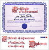 Blue certificate. Template. Horizontal. Stock Photography
