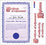 Blue certificate. Template. Vertical. Royalty Free Stock Photography