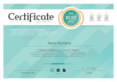 Blue Certificate, Vector certificate template,Modern style. Stock Image