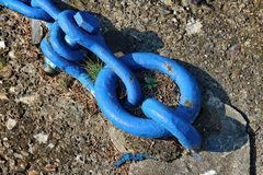 Blue chains. Old metallic chains in blue tone Royalty Free Stock Image