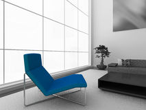 Blue chair. Modern black and white interior with stylish blue chair. High quality 3d illustration Stock Photo
