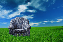 Blue chair. In green meadow stock images