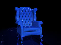 Blue Chair. Old Blue Chair on reflective surface vector illustration
