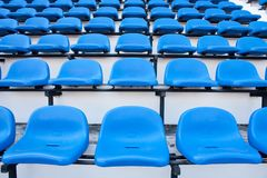 Blue chair. On the miraculous. To watch a sporting event Royalty Free Stock Images
