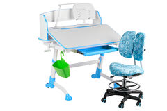 Blue chair, blue school desk, green basket and desk lamp Stock Photo