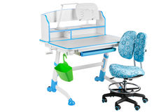 Blue chair, blue school desk, green basket and desk lamp Royalty Free Stock Images