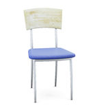 Blue chair with chrome legs and wooden back Royalty Free Stock Photo