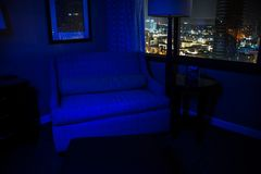 Blue chair. With a cityscape Royalty Free Stock Photography