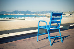 Blue chair in the Croisette, Cannes Royalty Free Stock Photos