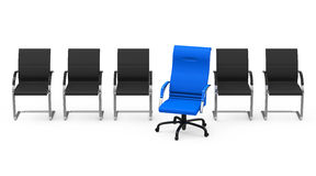The blue chair. 3d generated picture of a blue chair in a row of black chairs Royalty Free Stock Photos
