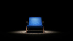 Blue chair in the dark 3D render. Ing Royalty Free Stock Image