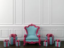 Blue chair with gifts Royalty Free Stock Photography