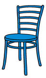 Blue chair. Hand drawing of a classic blue wooden chair vector illustration