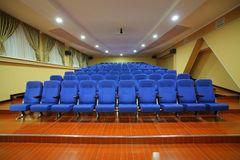 Blue chair seats in a theater Stock Image