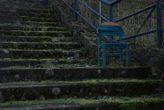 Blue chair on the stairs. Blue small and old chair on beton stairs covered with moss stock images