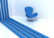 Blue chair and stripes. On white Stock Photo