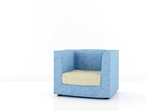 Blue chair on a white. Blue chair skinned white cloth on the floor Royalty Free Stock Photo