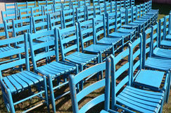 Blue Chairs. Rows of Blue Chairs Royalty Free Stock Photo