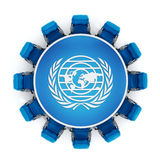 Blue chairs around round table with world and laurels symbol Stock Photography