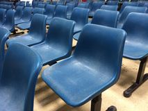 Blue chairs in the building Stock Photos