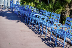 Blue chairs in Cannes - France - Cote d Azur Royalty Free Stock Photography