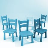 Blue chairs on a empty room. Waiting empty room with jumbled blue chairs Stock Images