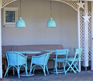 Blue chairs in small alcove