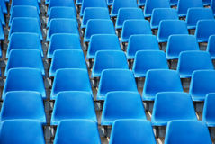 Blue chairs in stadium Stock Photo