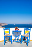 Blue chairs and table on a mediterranean balcony with nice view Stock Photography