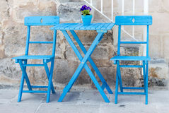 Blue Chairs and table Royalty Free Stock Photos