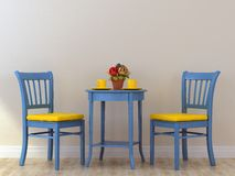 Blue chairs with table Royalty Free Stock Images