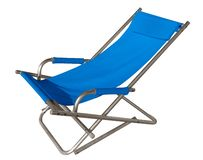 Blue chaise lounger isolated on white. Clipping path included stock images