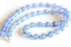 Blue Chalcedony beads necklace with silver spacer Royalty Free Stock Photo