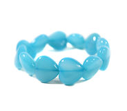 Blue chalcedony heart shaped bracelet. Mineral quartz made of cryptocrystalline form of silica Royalty Free Stock Photography