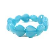 Blue chalcedony heart shaped bracelet Royalty Free Stock Photography