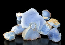 Blue Chalcedony Ring And Rough Stock Photos
