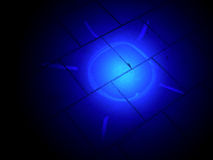 Blue chalk sun on stone road, science lighting, Stock Photo