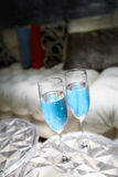 Blue Champagne Glasses Royalty Free Stock Image