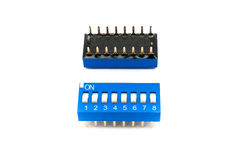 Blue 8 Channels Dip Switch/ Selector Switch.  Royalty Free Stock Photos