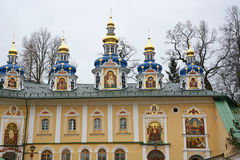 Blue chapels of the church of the Pskov-Caves Monastery Stock Images
