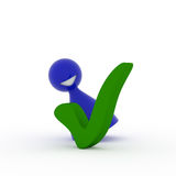 Blue character with a green check mark Royalty Free Stock Photos
